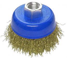 Корщетка-чашка 100 мм латунированная (гофрированная) для УШМ (болгарки) USPEX 39270U