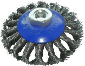 Корщетка-колесо с наклоном (конусная) витая 100 мм для УШМ (болгарок) USPEX 39114U