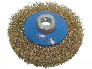 Корщетка-колесо с наклоном (конусная) латунированная 115 мм для УШМ (болгарок) USPEX 39051U