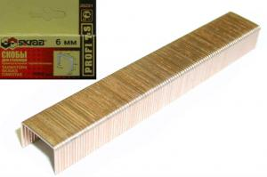 Скобы для степлера 6 мм омедненные оцинкованные (1000 шт) Тип 53 SKRAB 35231
