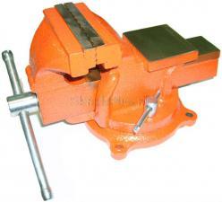 Тиски 100 мм слесарные поворотные чугунные 5,5 кг с наковальней SKRAB 25420
