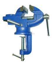 Тиски слесарные мини 50 мм с наковальней поворотные 360° настольные со струбциной SKRAB 25302