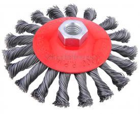 Корщетка-колесо с наклоном (конусная) витая 100 мм для УШМ (болгарок) SKRAB 35430