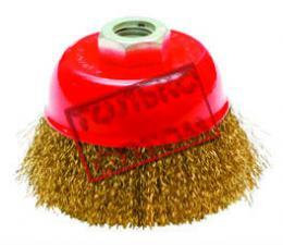 Корщетка-чашка 150 мм латунированная (гофрированная) для УШМ (болгарки) КРЕОСТ 7190150