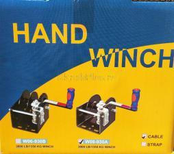 Внешний вид коробки с лебедкой ручной барабанной червячной 1350 кг трос 6 м JUN KAUNG W06-930A SKRAB 26437