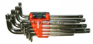 Набор Г-образных ключей TORX 9 шт. Т15-Т55 коротких с отверстием SKRAB 44710 купить оптом в СПб
