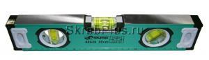 Уровень строительный 600 мм магнитный, фрезерованный, 3 глазка ЗЕЛЕНЫЙ SKRAB 40432 купить оптом в СПб