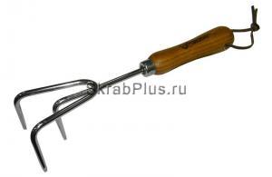 Культиватор садовый ручной трехзубый 300 мм нержавеющая сталь деревянная ручка SKRAB 28393 купить оптом в СПб