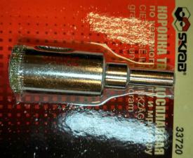 Коронка алмазная по керамограниту и мрамору 22 мм  SKRAB 33722