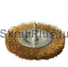 Корщетка дисковая 50*6 мм латунированная (гофрированная) для дрели SKRAB 35435 купить оптом и в розницу в СПб