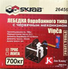Внешний вид коробки с лебедкой ручной барабанной червячной 700 кг трос 6 м JUN KAUNG WC06-915А SKRAB 26456