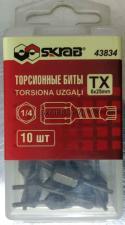 Оригинальное фото упаковки Бит T6x25 TORX торсионных магнитных антислип 10шт SKRAB 43834