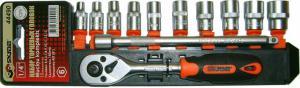 Набор торцевых головок 4 - 13 мм 10 шт 1/4 с трещоткой и удлинителем SKRAB 44490