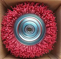 Оригинальное фото корщетки-чашки 125 мм нейлоновой для УШМ (болгарки) SKRAB 35475 в упаковке