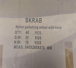 Фото оптовой упаковки корщеток-чашек 125 мм нейлоновых для УШМ (болгарки) оксид циркония (ZrO2) ПРОФИ SKRAB 35488 - 40 шт в картонной коробке