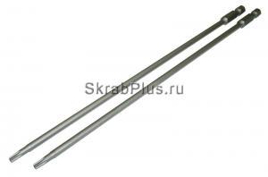 Биты T15x150 TORX магнитные 2шт SKRAB 43502  звездочка с отверстием купить оптом в СПб